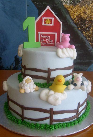 farm theme cakes Two tier white round farm theme first birthday