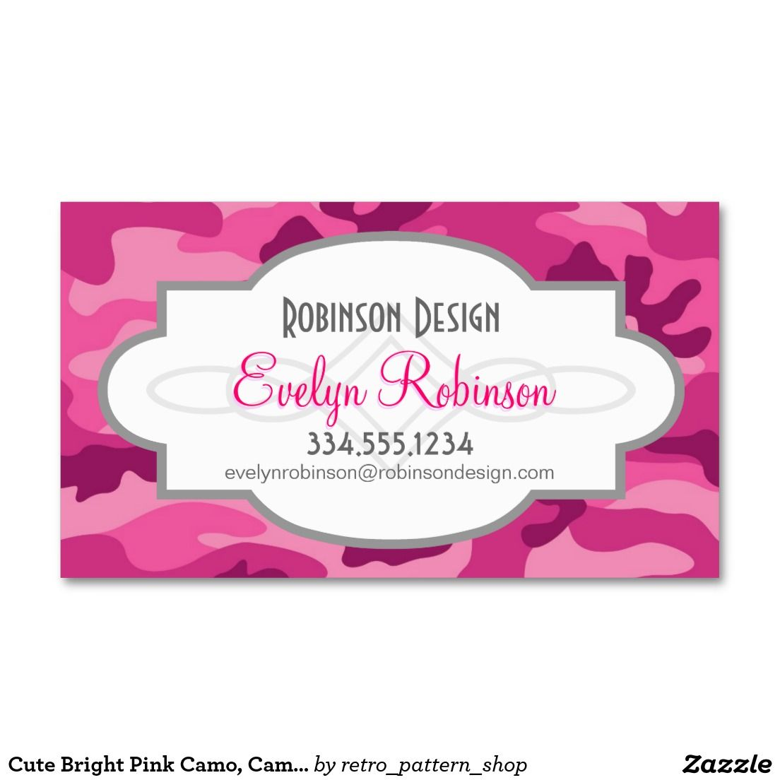 Cute Bright Pink Camo, Camouflage Double-Sided Standard Business ...