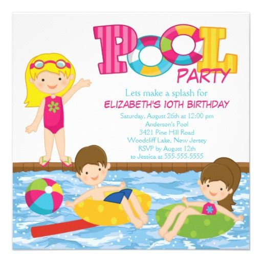 Blonde Girl Birthday Summer Pool Party Invitation  Girl Birthday