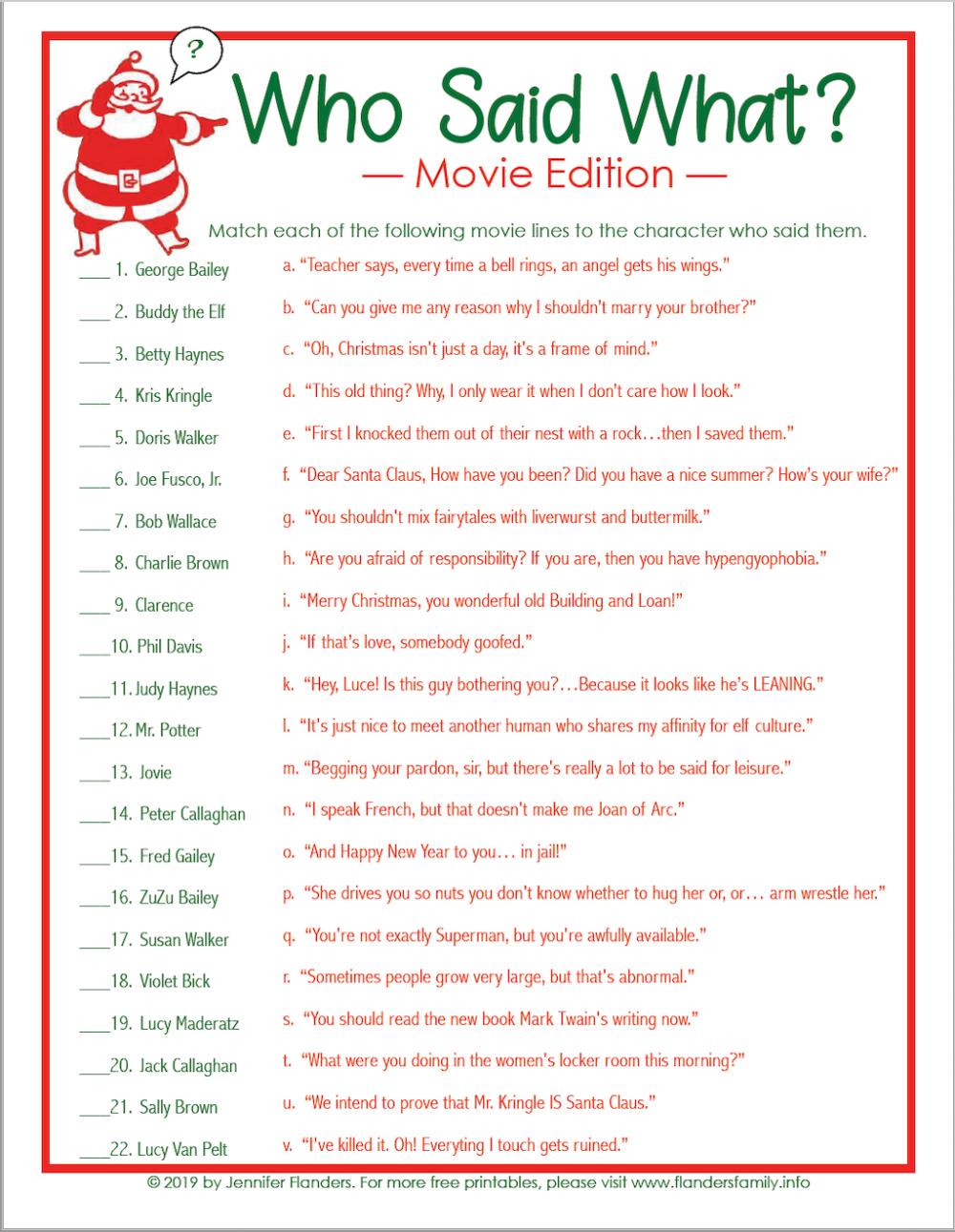 Who Said What Christmas Trivia Game Christmas Printable Christmas Trivia Games Christmas Trivia Christmas Quiz