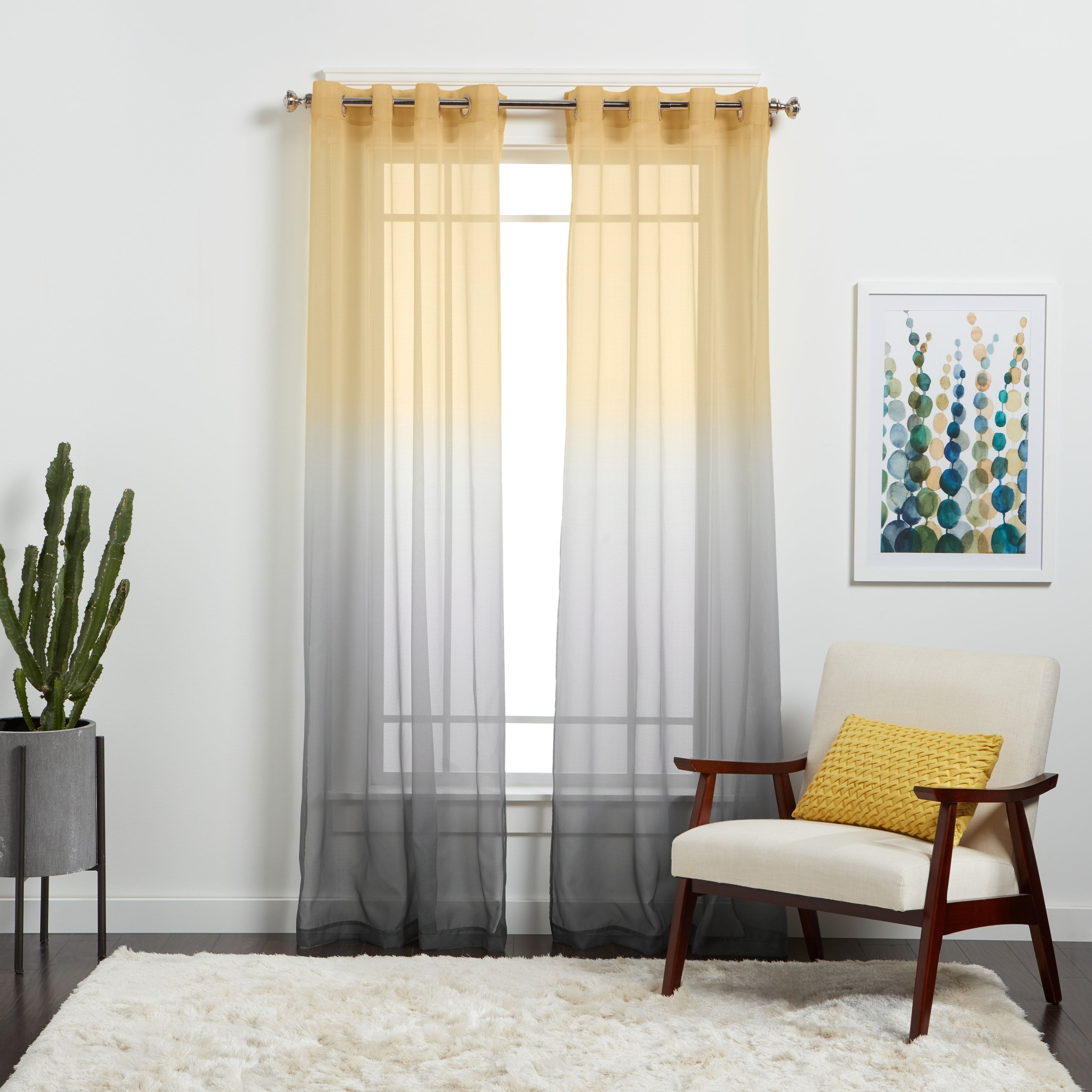 Semi Sheer Ombre Single Curtain Panel Ombre Curtains Curtains Home