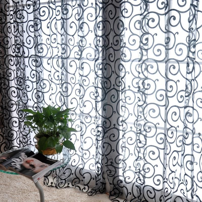 Sheer Scarf Valance Window Treatments Part - 48: Stylish-Floral-Tulle-Voile-Door-Window-Curtains-Drape-Sheer-Scarf-Valances-Black  Use To Make Sheer Kimono Or Scarf