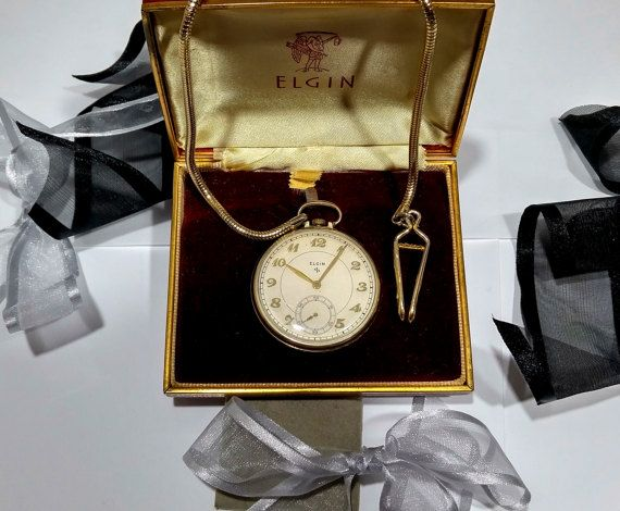 Boyfriend watch gift, Father watch gift, Pocket watch for him, Groom watch idea, Gold filled, 1940s Elgin pocket watch and chain fob, Box