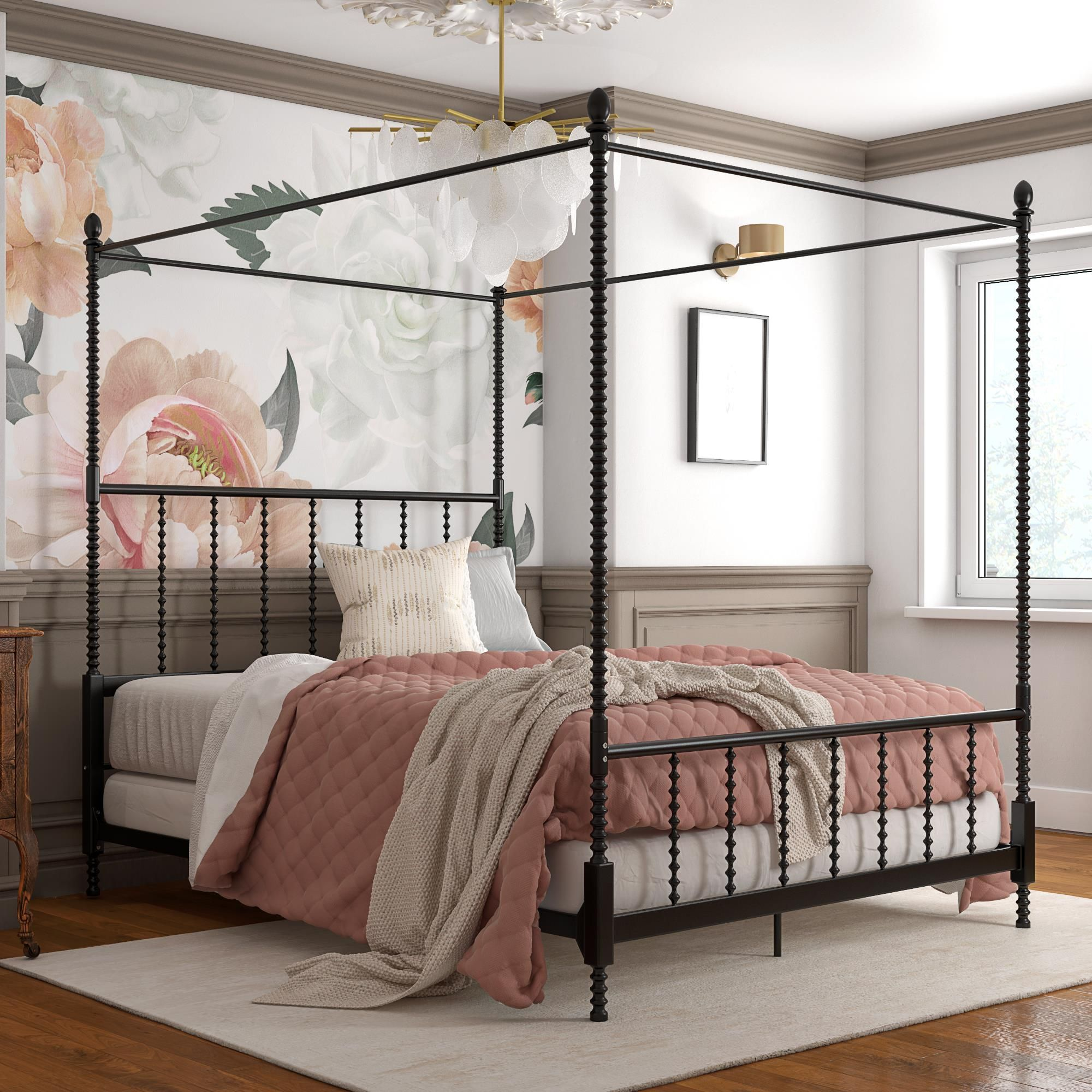 Home in 2020 Metal canopy bed, Black canopy beds, Canopy