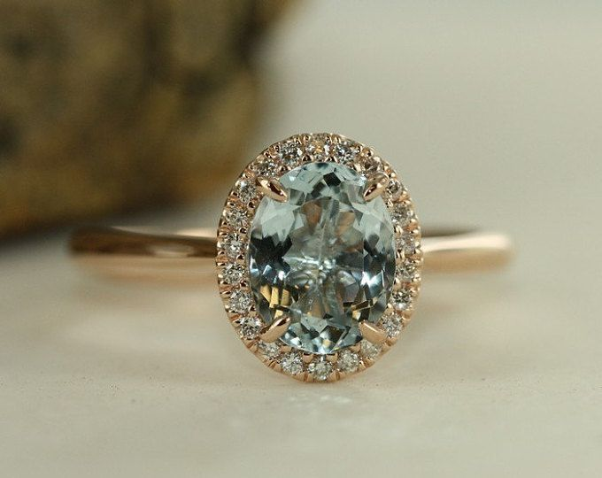 handmade natural aquamarine engagement ring in 14k rose gold 9x7mm oval aquamarine wedding ring halo diamond ring bridal set available i do pinterest - Aquamarine Wedding Ring