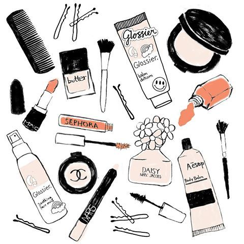 I Love Drawing Beauty Products Here Are A Few Fave Brands Illustration Makeup Beauty Glossier Chane Beauty Video Ideas Love Drawings Beauty Illustration
