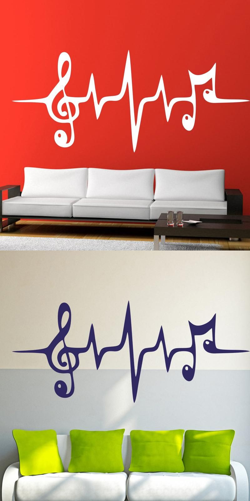 Music Pulse Symbol Cool Studio Living Room Wall Stickers Vinyl ...