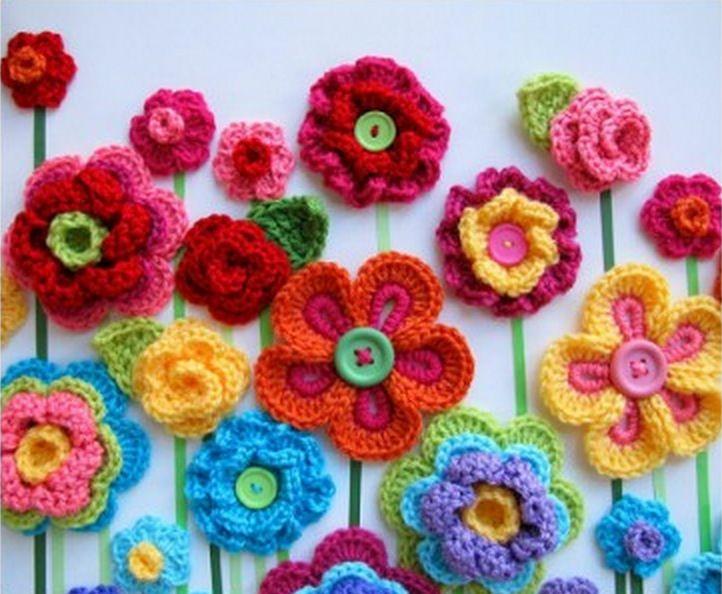 Crochet Button Flowers Video Free Pattern Lots Of Ideas | Crocheted ...