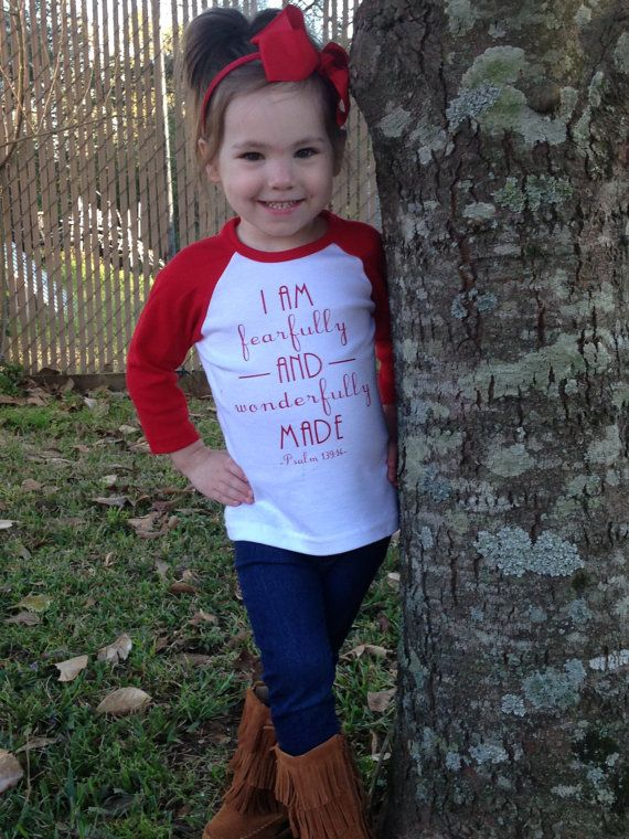 Fearfully and Wonderfully Made Raglan Youth by TrendyTransfers