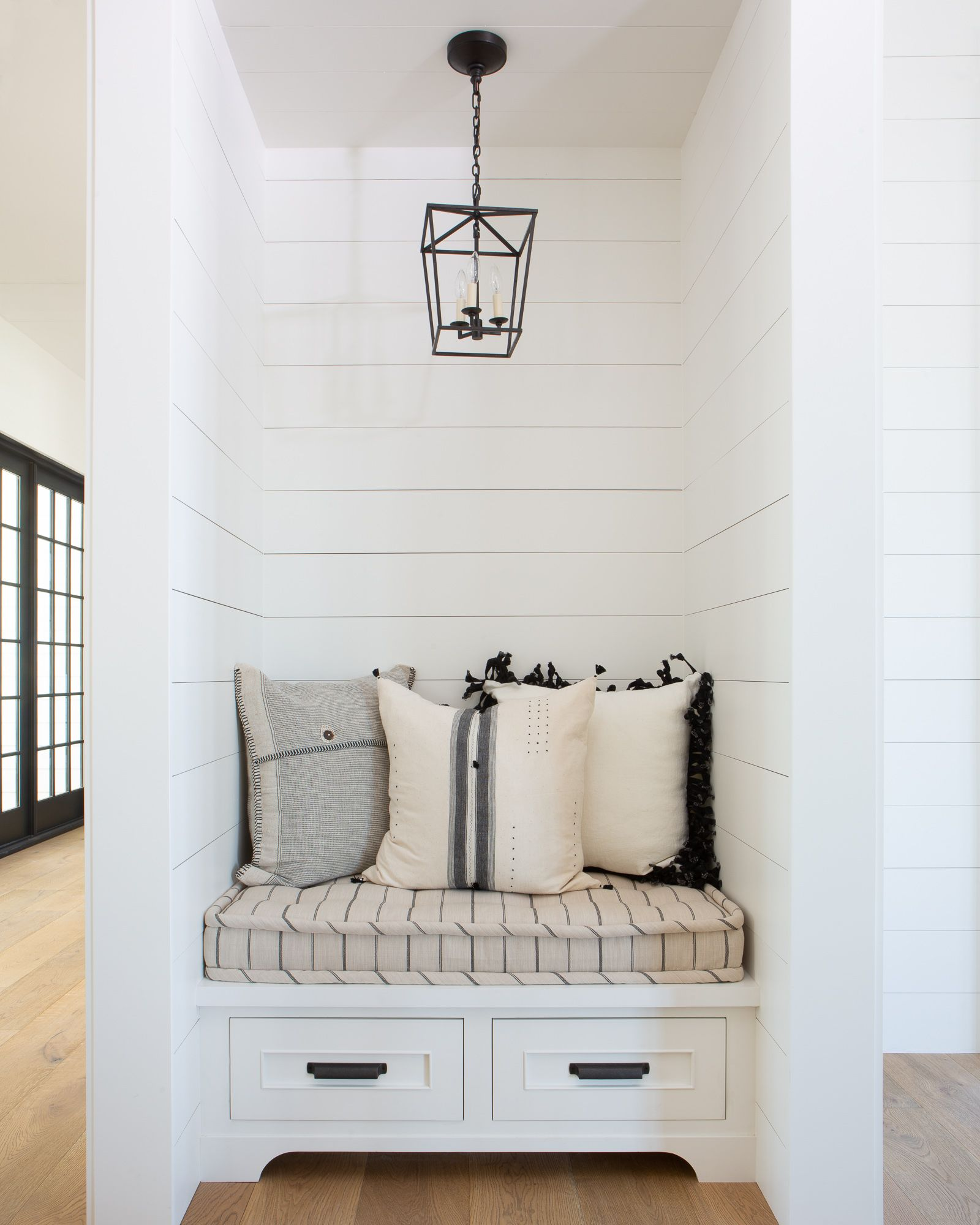 Southern Style White shiplap wall, Bedroom nook, Wall nook