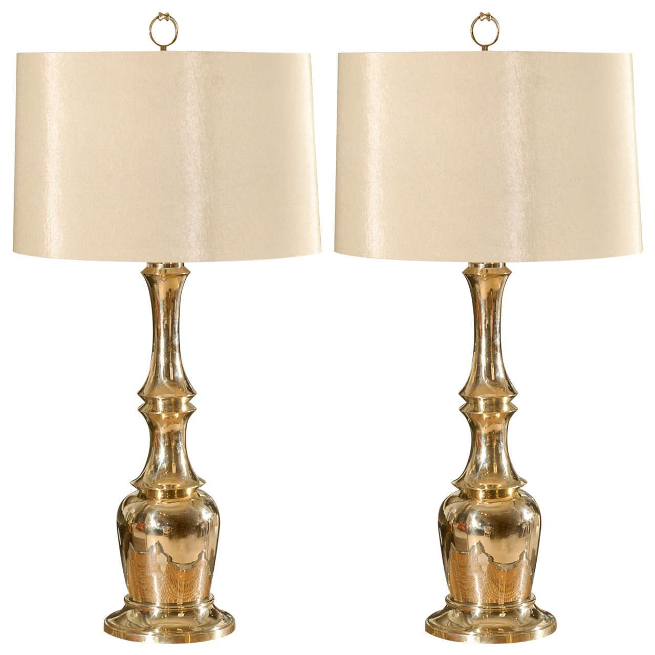 Pair of Brass Faux Bamboo Lamps by Warren Kessler