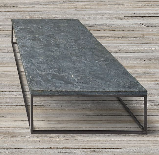 RHu0027s Delphine Bluestone U0026 Metal Coffee Table:Our U002760s Inspired French Table  Features