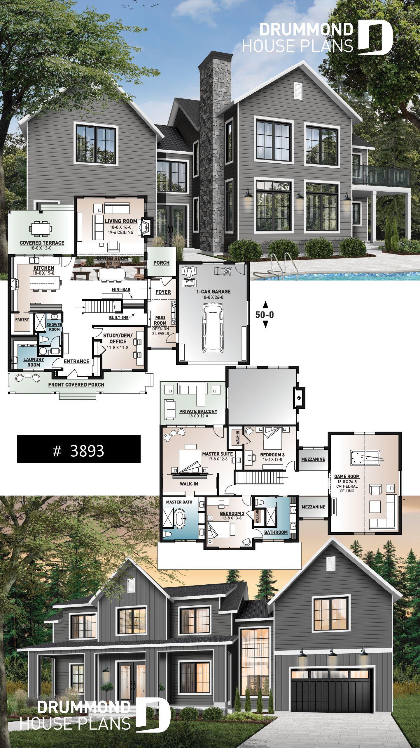 Decouvrez Le Plan 3893 Bridge Qui Vous Plaira Pour Ses 3 4 Chambres Et Son Style Farmhouse Maison Sims Maison Sims 3 Plan Maison Architecte