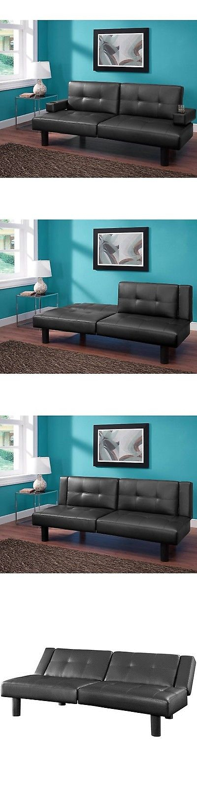 Futons Frames And Covers 131579 Mainstays Connectrix Futon Black Twin Size Sleeper Bed Sofa Couch