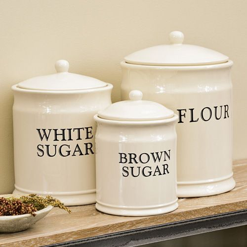 Download Wallpaper Plain White Ceramic Kitchen Canisters