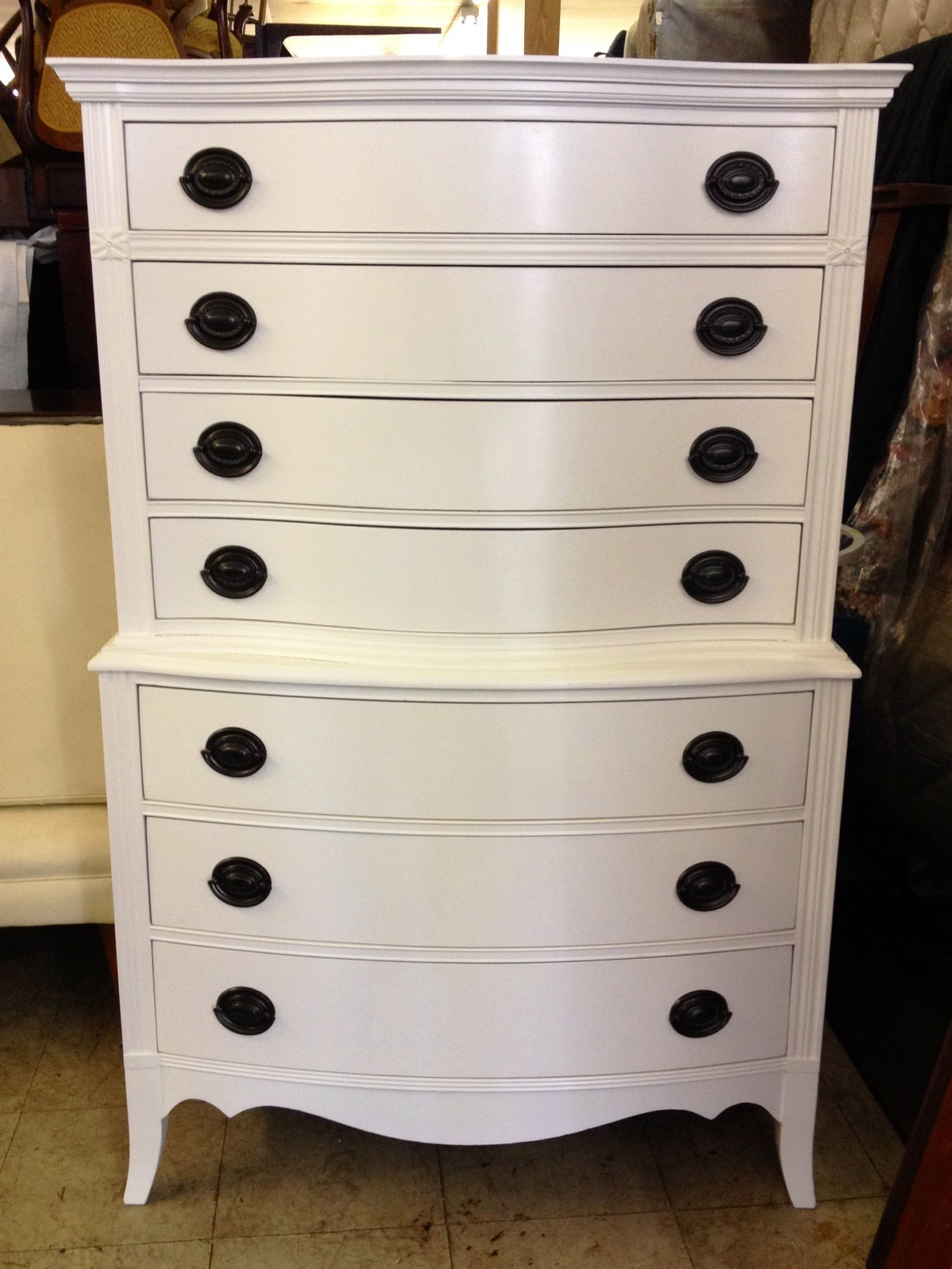 White Highboy Dresser Olympic Paint Crumb Cookie This Item Has Been Sold See