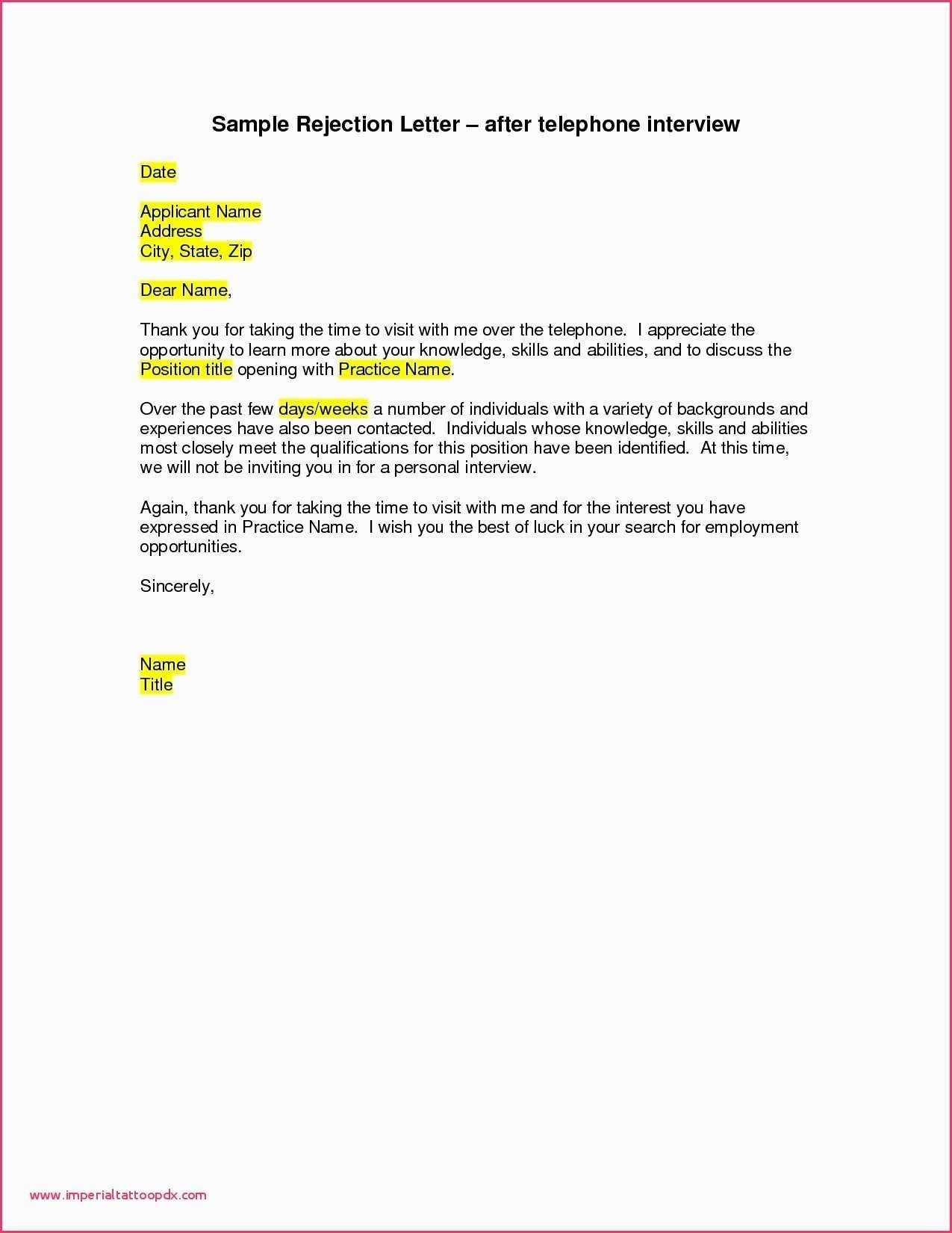 New Job Rejection Thank You Letter Sample Job rejection