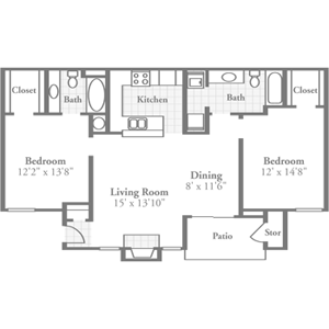Two Bedroom Plans Crowne Polo Luxurious Apartments In Winston Salem North Carolina Near The Wake Forest Campus And Luxury Apartments Apartment How To Plan