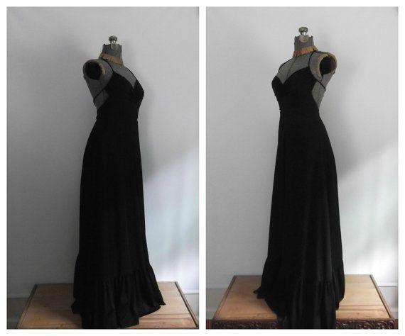 1960s 1970s Black Halter Maxi Dress / Vintage by rileybella123, $78.00