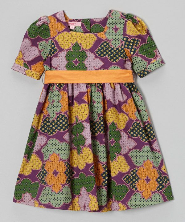 Purple & Orange Puff Sleeve Sash Dress - Toddler & Girls by ...