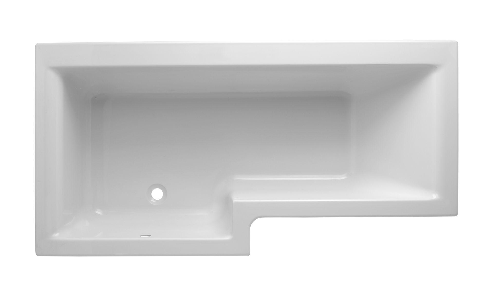 Cooke & Lewis Adelphi LH Acrylic L Shaped Shower Bath (L)1675mm (W ...