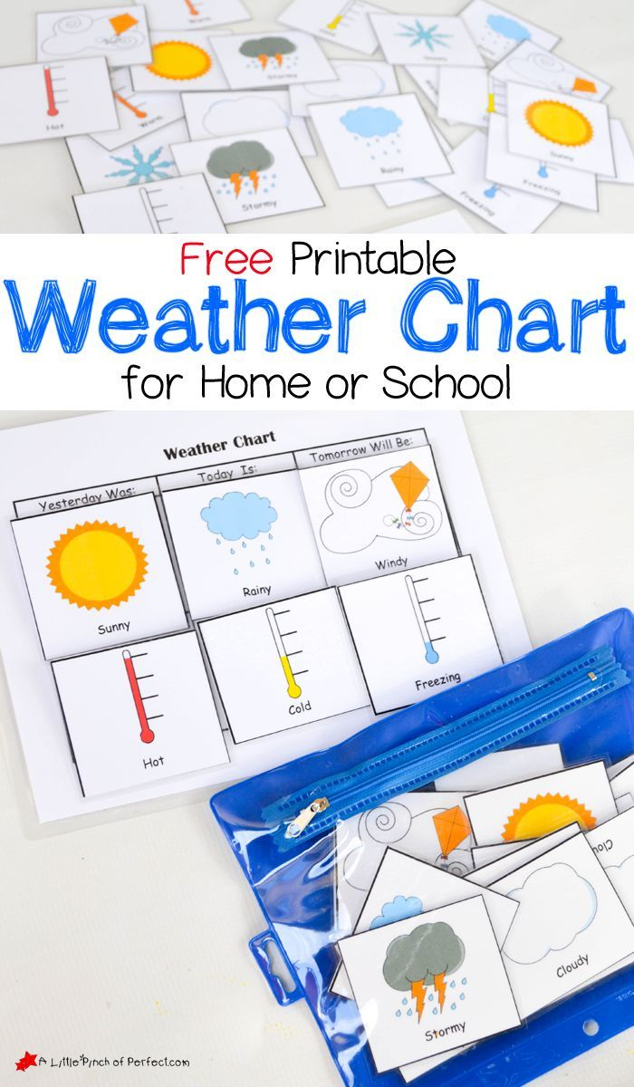 Kindergarten Calendar Weather Chart : Free printable weather chart for home or school