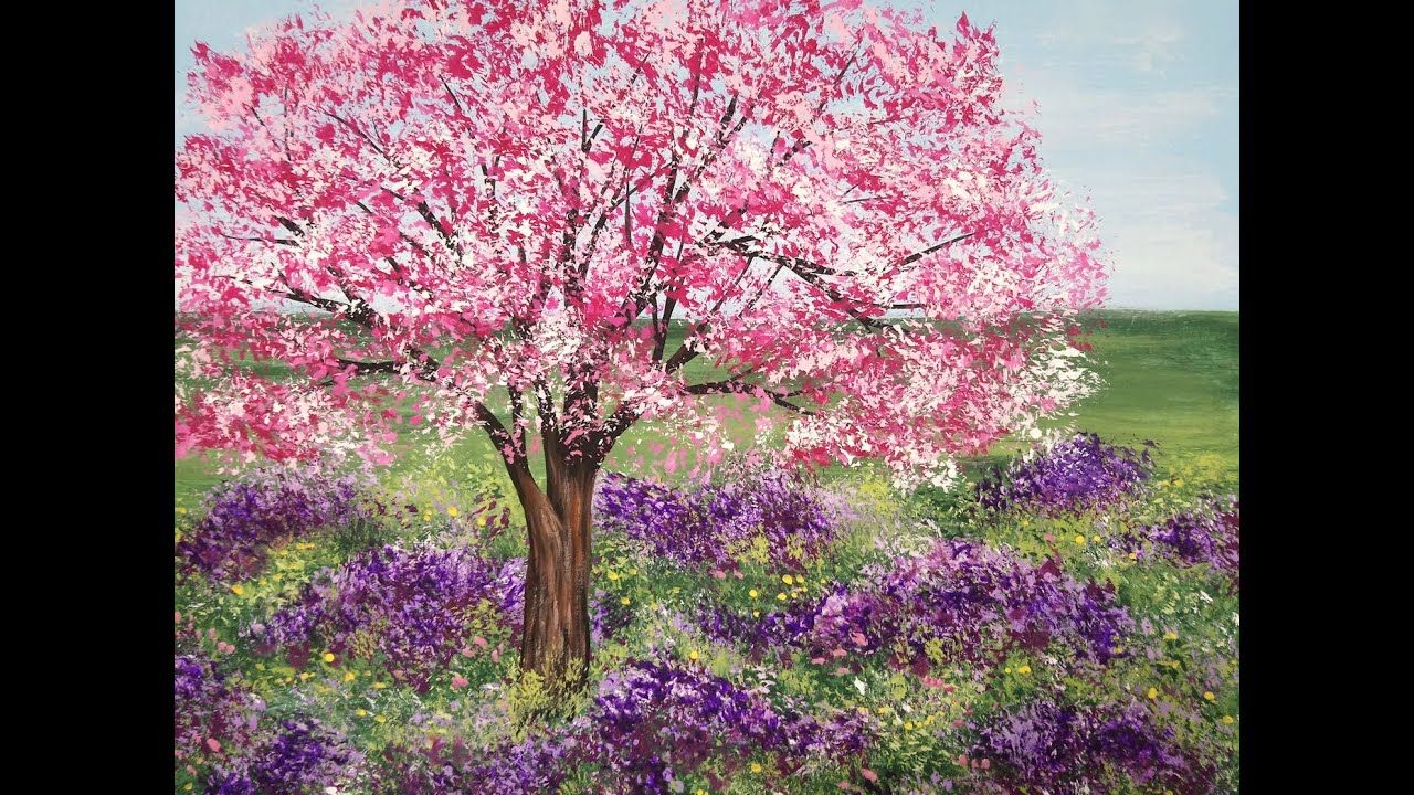 Acrylic Painting Cherry Blossom Tree And Lavender Meadow Landscape Painting Demo Cherry Blossom Painting Acrylic Cherry Blossom Painting Tree Painting Canvas