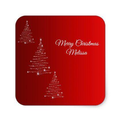 Merry Christmas GreetingName Square Sticker Merry christmas