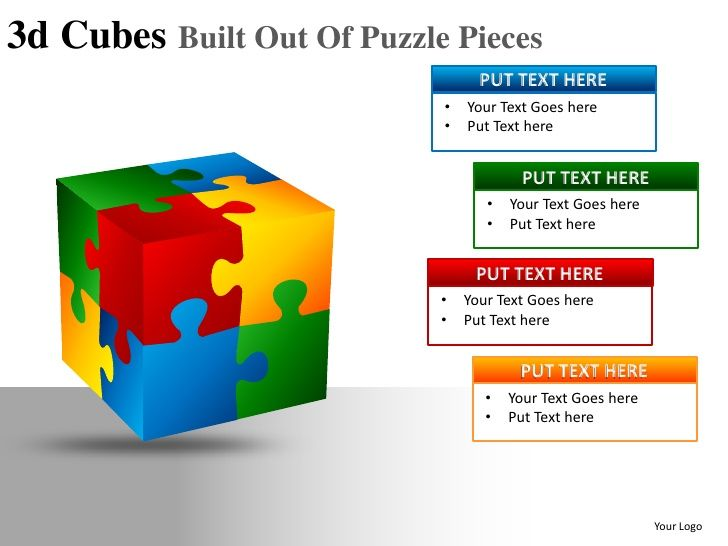 D Cubes Built Out Of Puzzle Powerpoint Presentation Templates