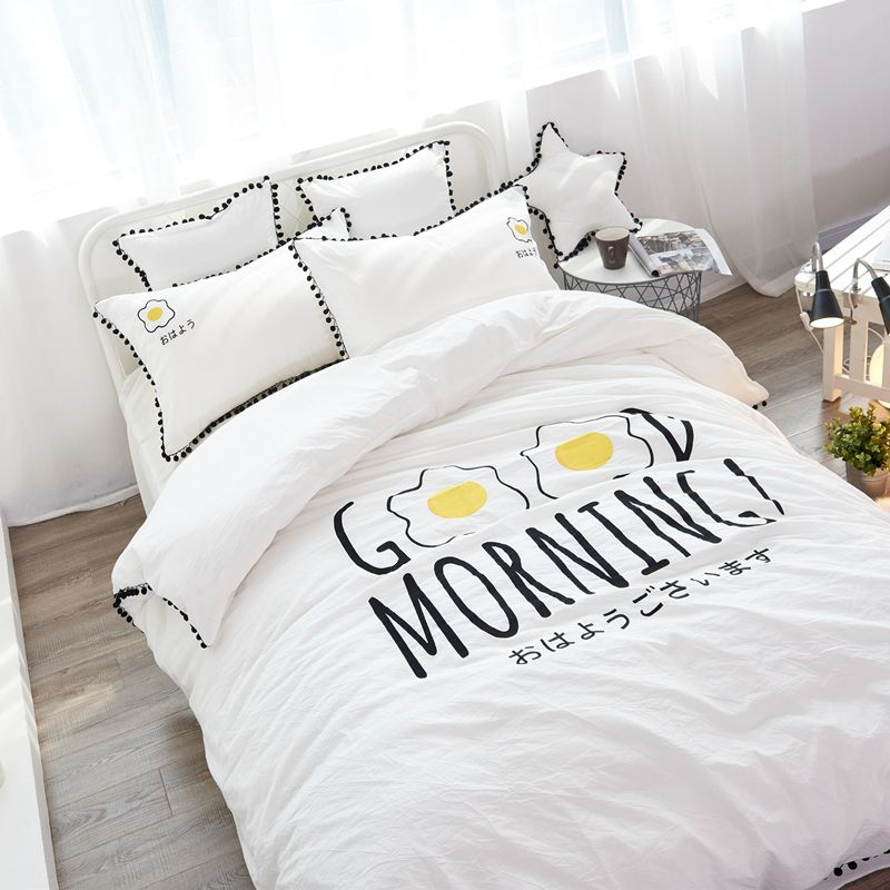 Magical Pom-Fringe white Duvet Cover Set, Good Morning bedding sets, bed  linen