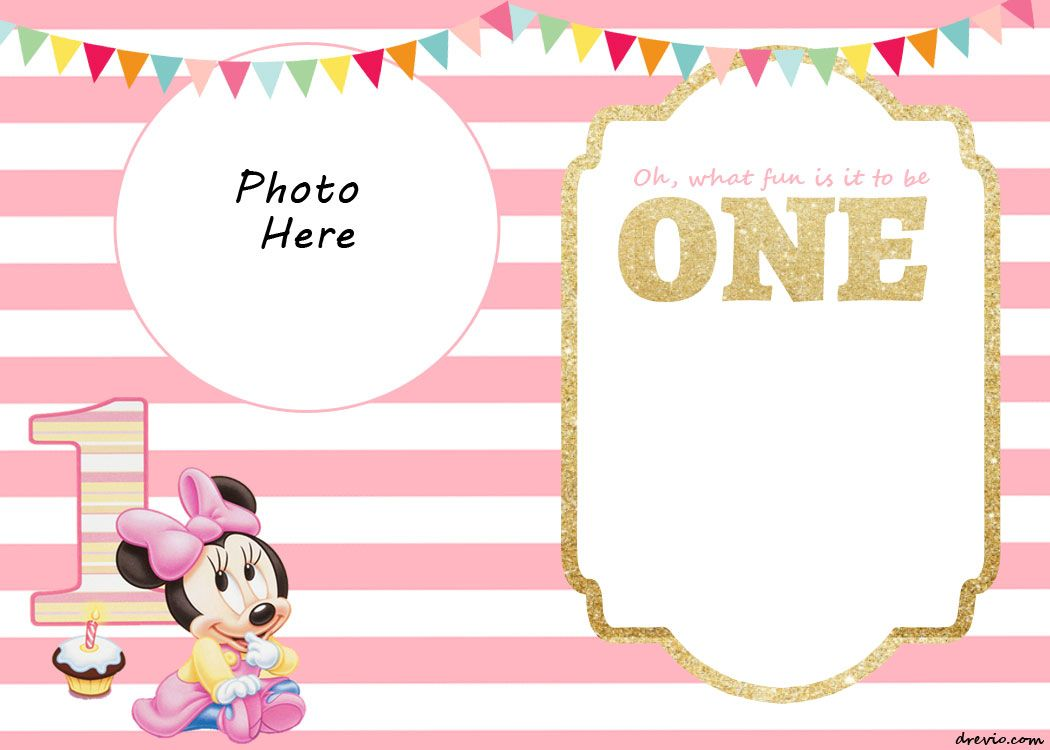 Cool FREE Printable Minnie Mouse 1st Invitation Templates