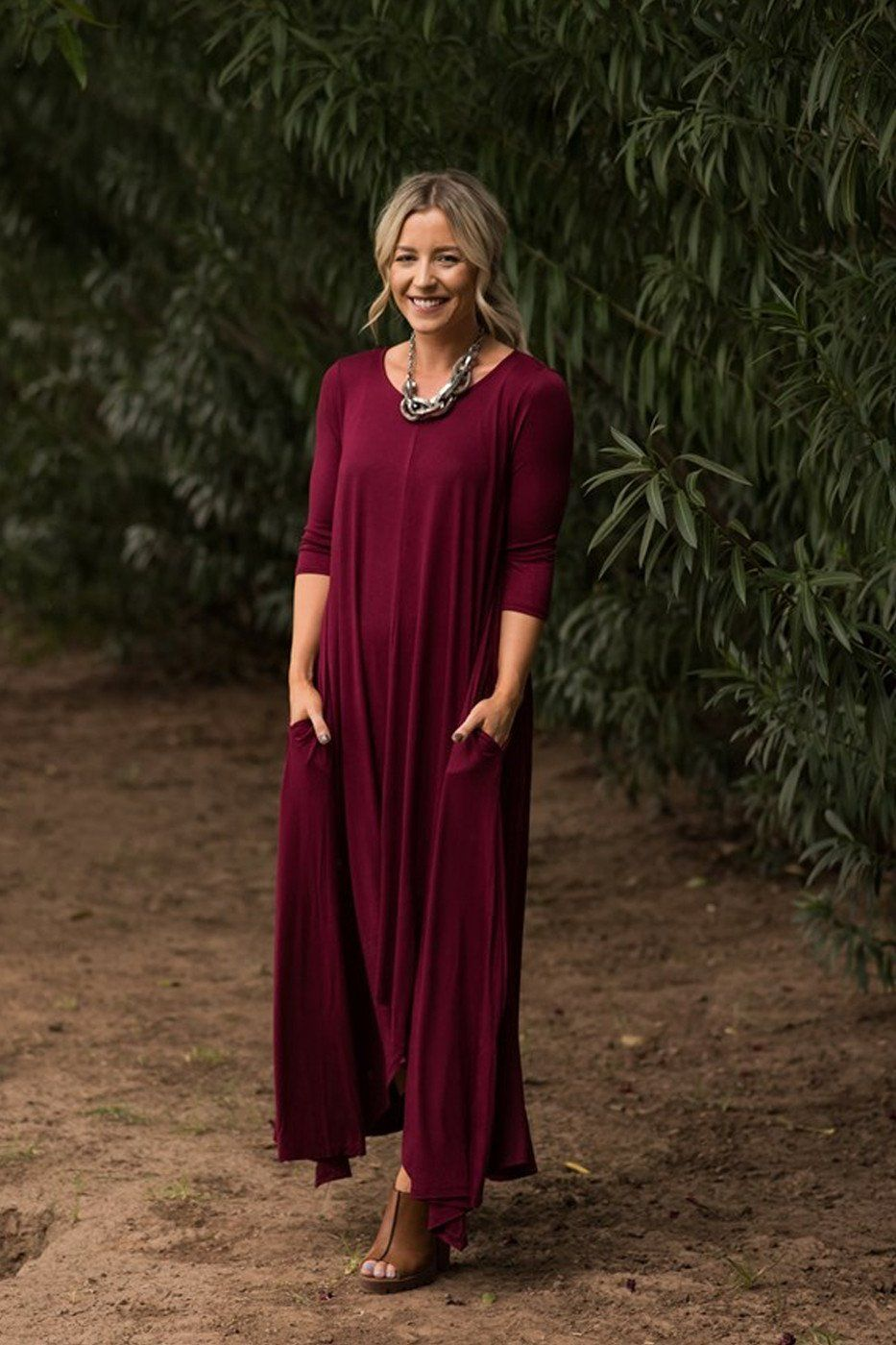 Free falling long sleeve maxi dress variety of colors products