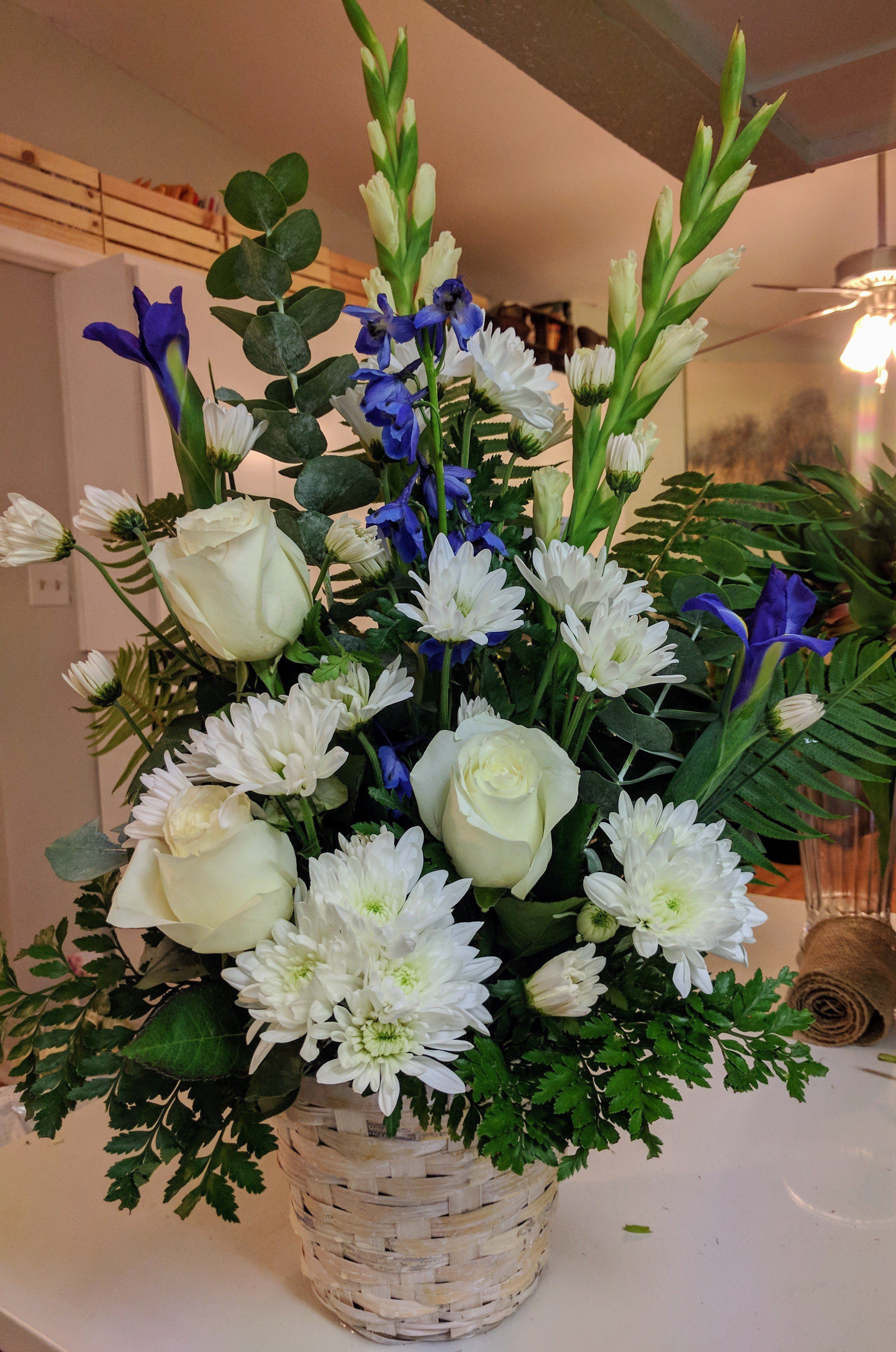 Blue & White Basket Funeral flowers, Sympathy flowers