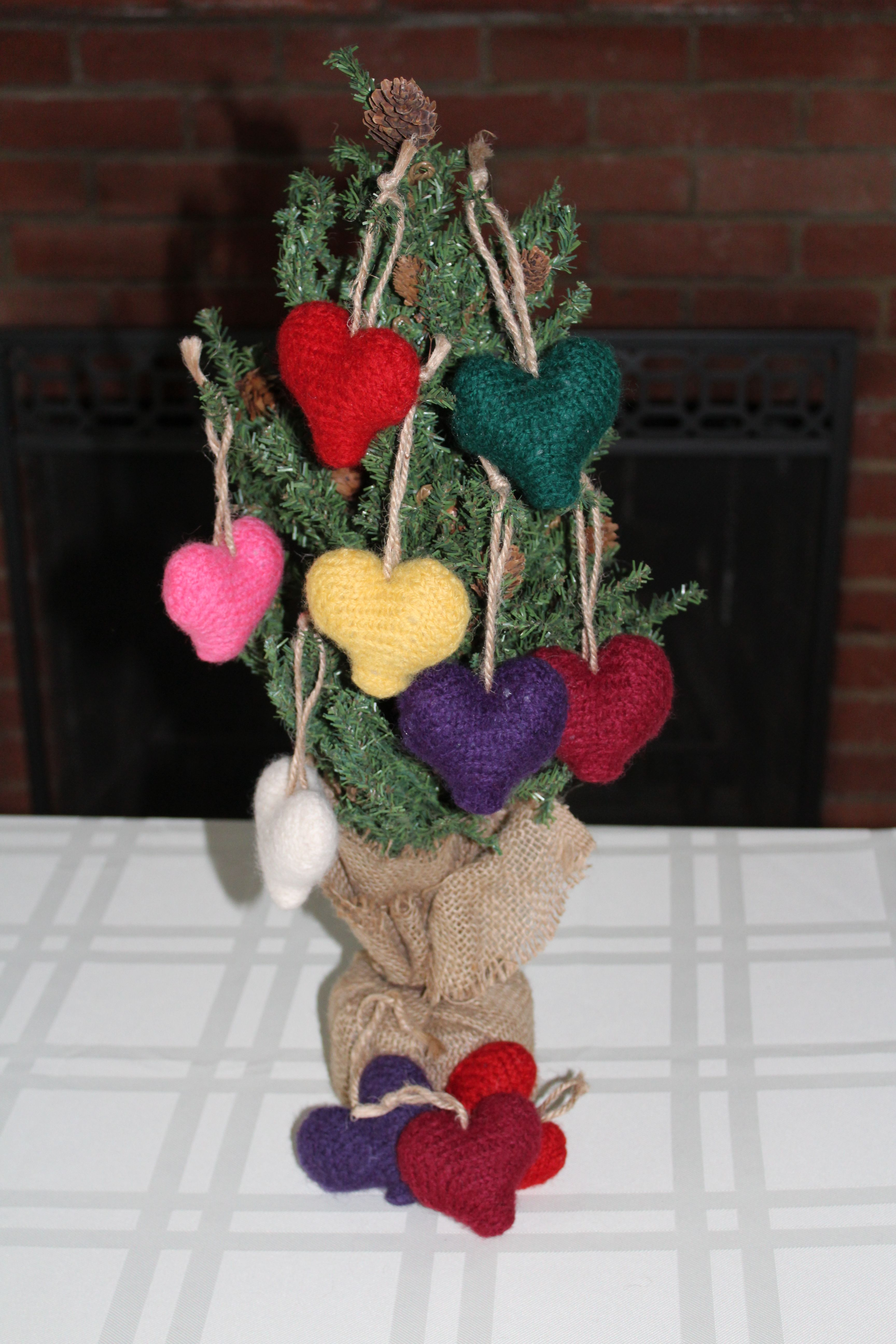Handmade farmhouse hanging knit heart christmas pinterest etsy