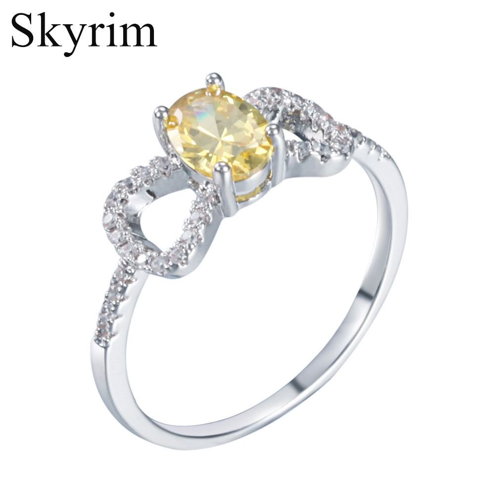 Skyrim Fashion Cute ladies Yellow Bowknot Cubic Zircon Ring Young ...