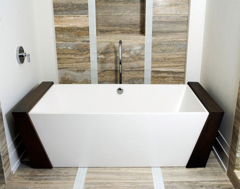MTI Boutique Collection Eryx Freestanding Soaker Tub with Cherry ...