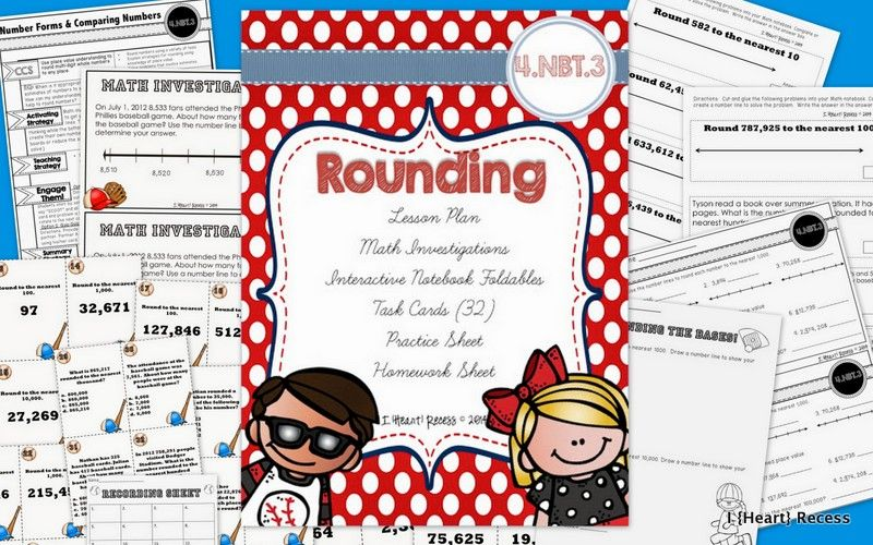 Rounding 4.NBT.3 Lesson Plan Bundle  Lesson plan, interactive notebook elements, 32 task cards, math investigation problem, practice sheet, & homework sheet