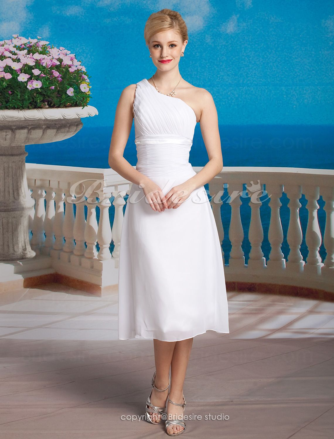The Green Guide Sheath Column Chiffon Tea Length One Shoulder Wedding Dress