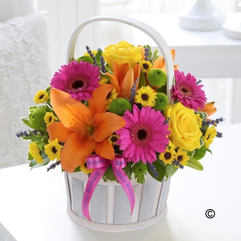 Happy Birthday Vibrant Basket Arrangement Birthdays