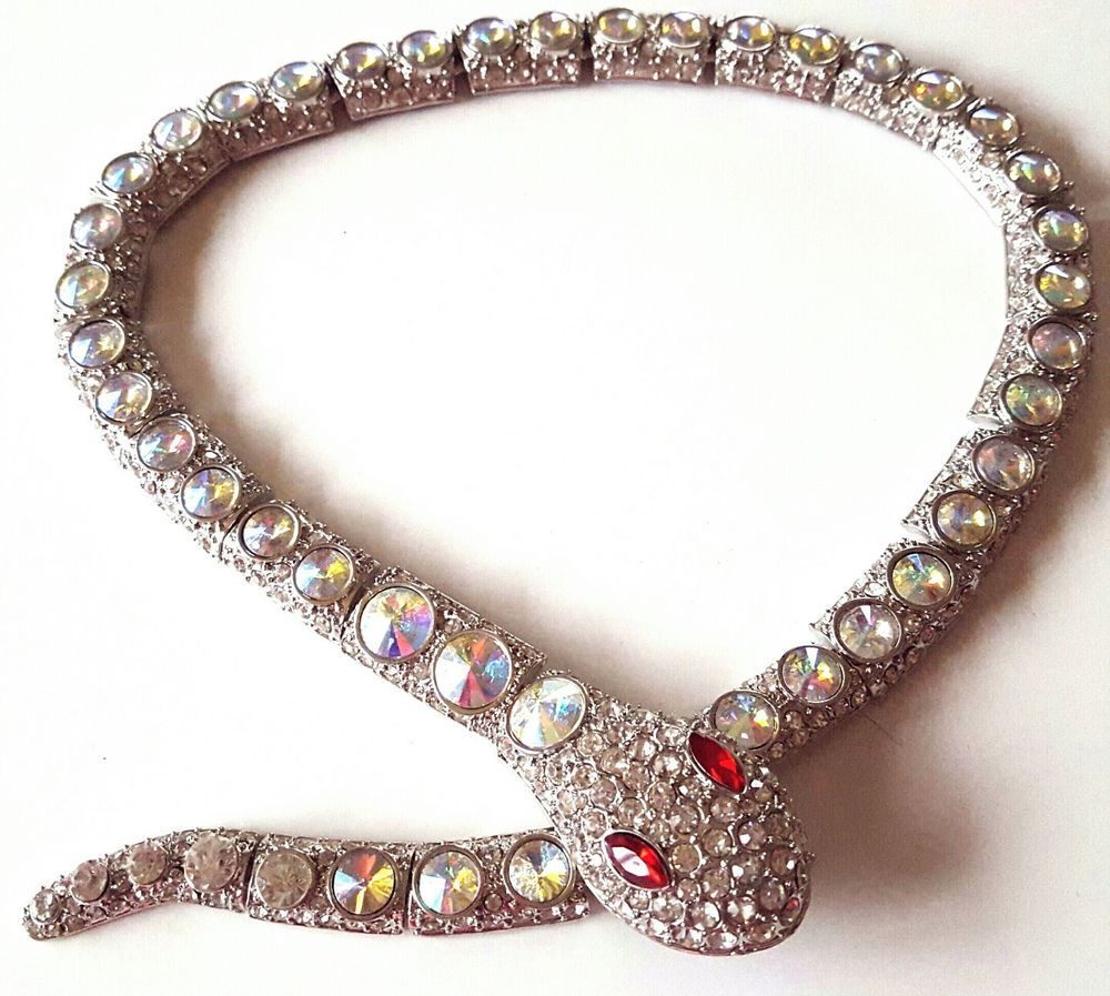 Snake Serpent Crystal Cleopatra Rhinestone Necklace butler wilson style quality in Jewellery & Watches, Costume Jewellery, Necklaces & Pendants | eBay!