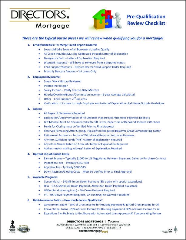 Pre-Qualification Checklist Helpful Mortgage Handouts Pinterest - income verification letter