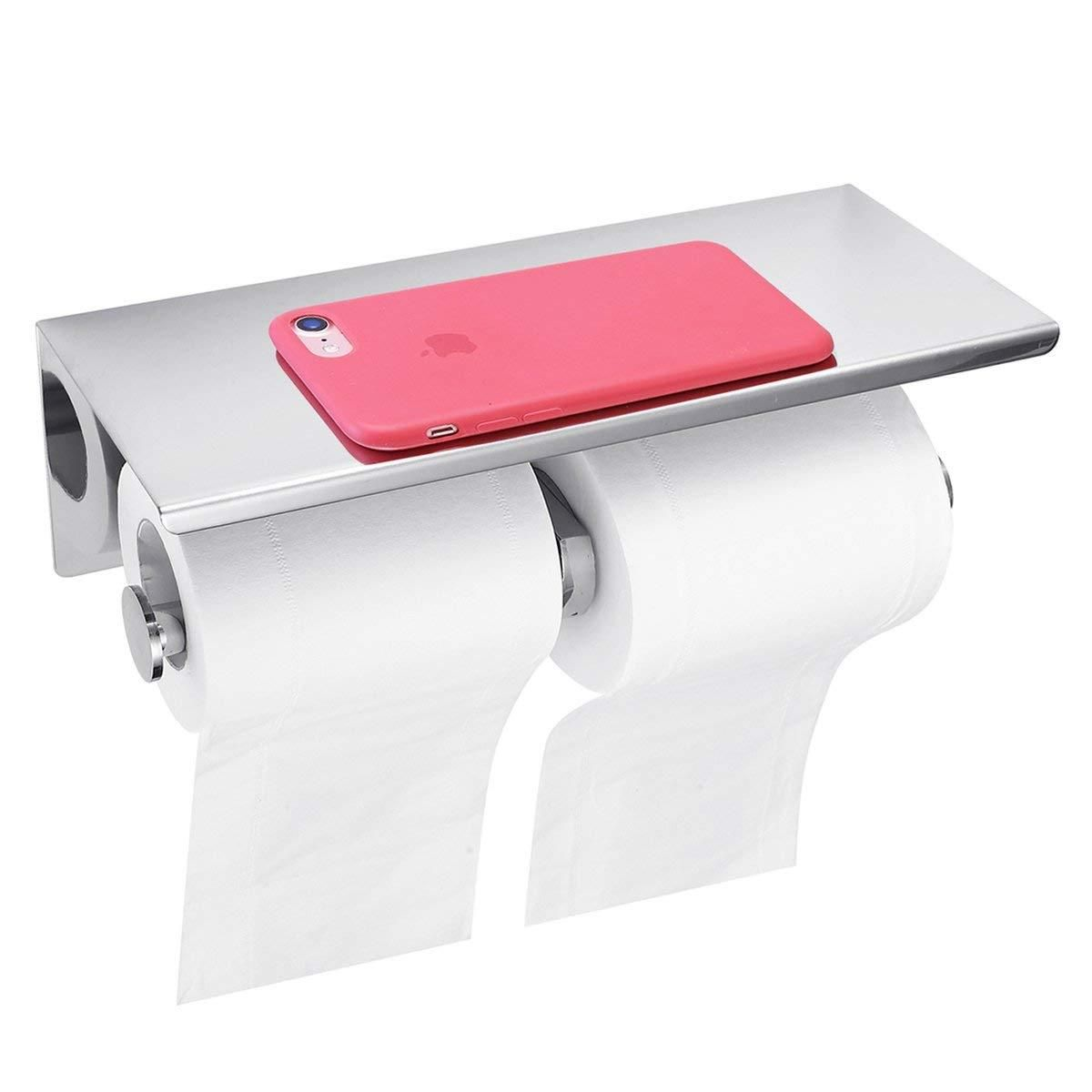 Extremerebate Gemitto Bathroom Double Tissue Roll Holder Sus304 Stainless Steel Toilet Paper Holder With Mobile Phone St Moveis Planejados Moveis Planejamento