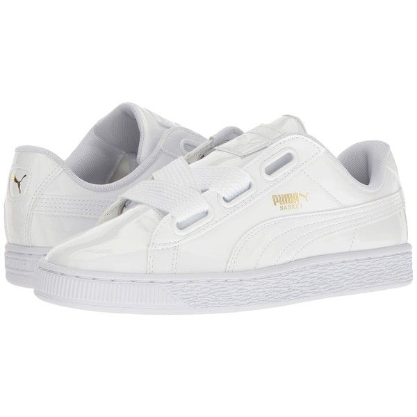 PUMA Basket Heart Patent (Puma White/Puma White) Women's Shoes (1,665 MXN) ❤ liked on Polyvore featuring shoes, white patent shoes, lace up shoes, breathable shoes, laced shoes and round cap