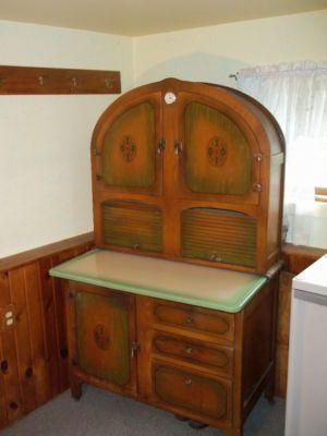 excellent 1930s kitchen | sellers oak hoosier kitchen cabinet with orange | 1930 ...