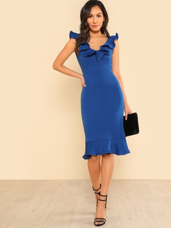 f50f699cce Ruffle Neck And Hem Fitted Dress -SheIn(Sheinside) | Formal ...