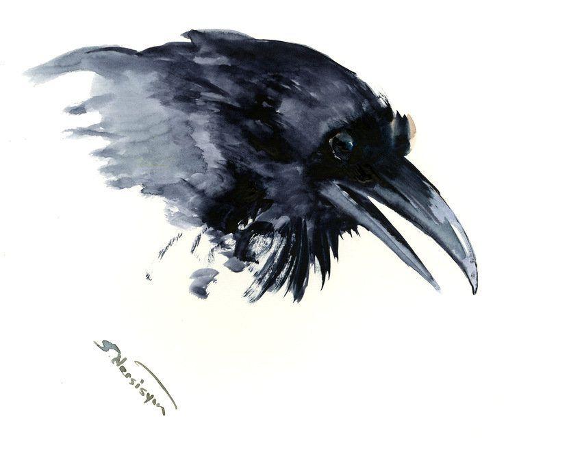 Minimalist Raven Tattoo: Crow Painting,raven, Original Watercolor, Wall Art, Black