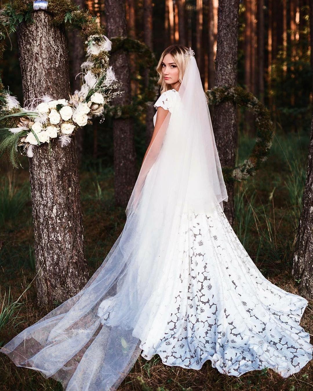 Open back lace wedding dresses  Forest goddess Bohemian open back lace wedding gown by bridal