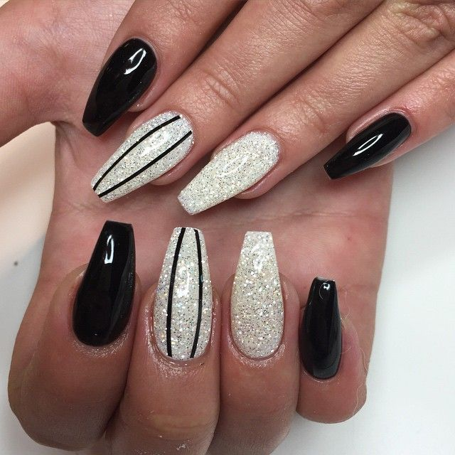 Black And White Coffin Nails With Glitter Black Coffin Nails Silver Glitter Nails Coffin Nails Designs