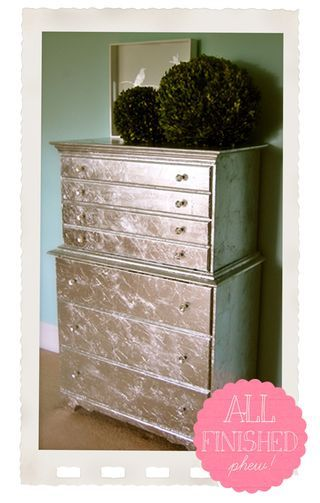 My Diy Silver Leaf Dresser Project Part 2 In 2019 Cool