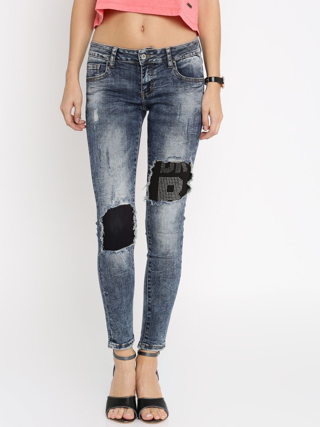 Deal jeans women blue skinny fit midrise highly